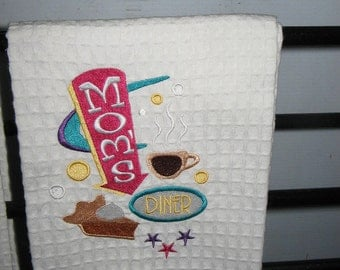 Embroidered Towel with Mom's Diner