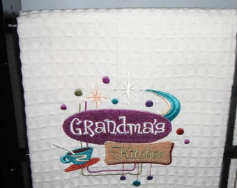 Embroidered Towel with Grandma's kitchen
