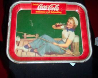 vintage 1940 coca cola tip tray sailor girl