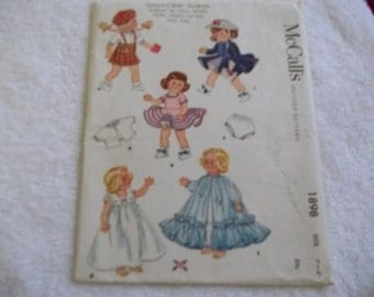1954 mccalls printed pattern for doll clothes