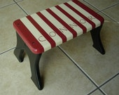 Personalized Step Stool - Striped Red and White Stool - Tip-resistant Step Stools by Laffy Daffy on Etsy