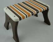 Step Stool - Striped Brown Orange Stool - Tip-resistant Step Stools by Laffy Daffy on Etsy