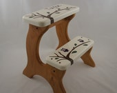 Owl Step Stool, Wooden,  Natural Stain, Personalized, Children's Tip-Resistant, Handmade Stepstools by LaffyDaffy on Etsy