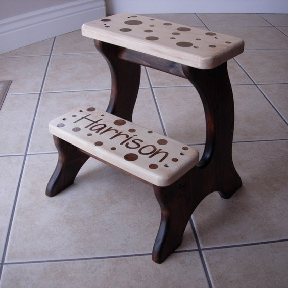 Step Stool, Wooden, Wood, Alder, Dark, Stain, Personalized, Children, Tip-Resistant, Handmade Stepstools by LaffyDaffy on Etsy