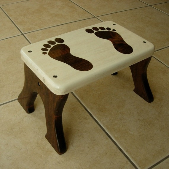 Step Stool, Wooden, Wood, Alder, Stained, Cream, Footprints, Children, Tip-Resistant, Stepstools by LaffyDaffy on Etsy
