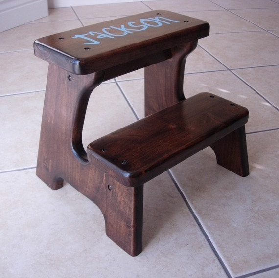 Items Similar To Wood Step Stool Personalized Blue Dark