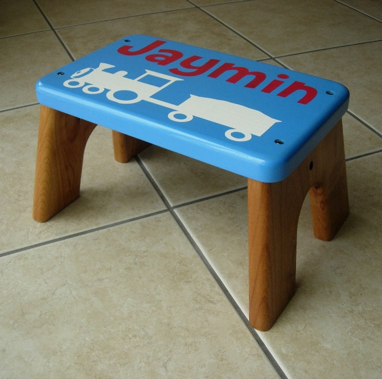 Personalized step stool wood white train blue top by