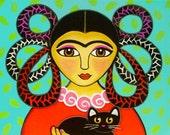 FRIDA Kahlo and Black CAT Folk Art PRINT from Original Painting by Jill