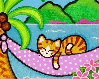 Tropical Orange Tabby CAT on HAMMOCK Folk Art PRINT from Original Painting by Jill