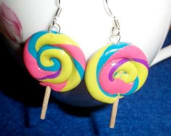 LollyPop Earrings in Spring colors Pink, Purple, Lime Green, Turquoise and Pink