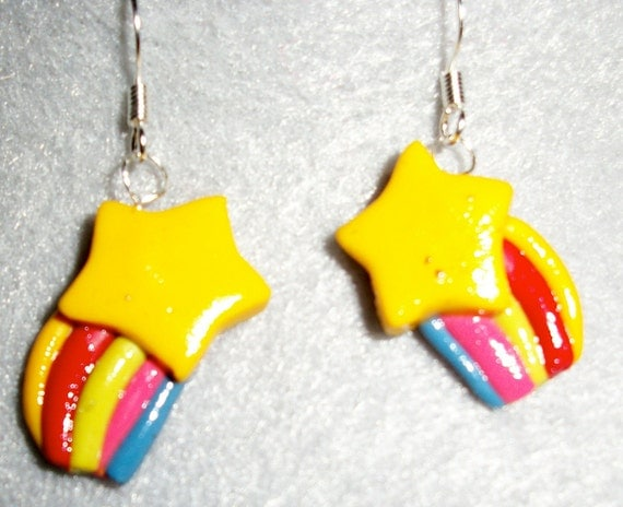 Star and Rainbow Hypoallergenic Surgical Steel Light Weight Polymer clay Dangle Earrings by Monnknight Jewels