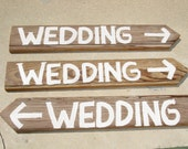 3 Wooden Wedding Signs with Stakes Barnwood Hand Painted Directional Vintage You country western hillbilly
