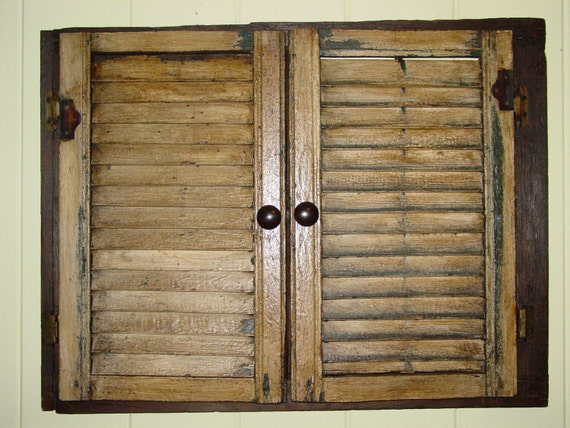 Old Wooden Shutter Door Window Picture Frame By Primitivearts
