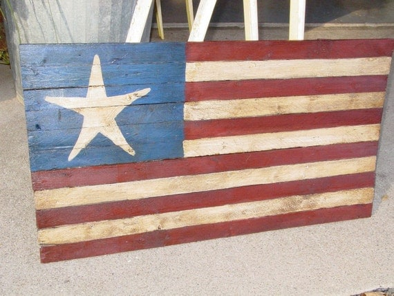 Rustic Star Country Decor Folk Art American Flag By Primitivearts