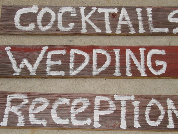 Large Wooden Wedding Signs 3 with Stakes Barnwood Hand Painted Directional Vintage You