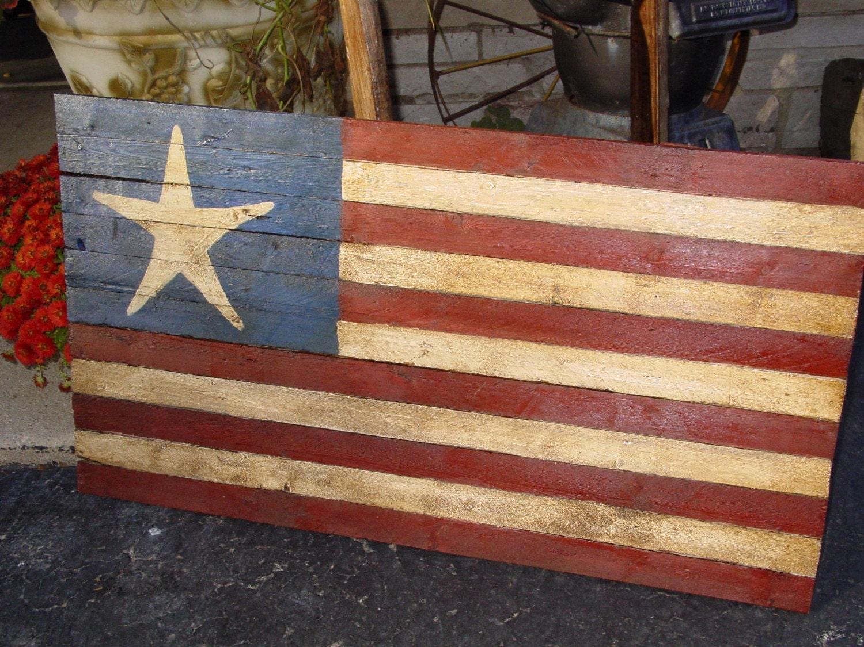 Rustic Star Garden Fence Great American Flag Wood 33 X 18