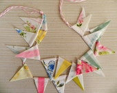 Shabby Floral Pastel Fabric Bunting Cake Topper Decoration / Romantic and Colorful Vintage Wedding