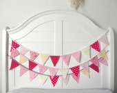 LAST ONE Sweet Valentine Vintage Fabric Bunting, Garland, Banner, Pennant Decoration 3 Feet Handmade By A Fête Beckons On Etsy