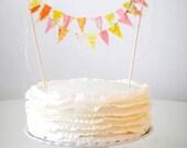 Pink Orange Cocktail Mix  Fabric Bunting Cake Topper Decoration / Handmade Vintage Garden Wedding