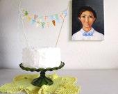 Vintage Yellow Orange Cornflower Fabric Cake Bunting Decoration