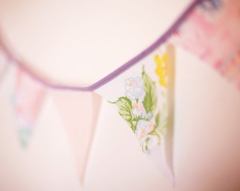 Single Strand Your Choice or Customized 3ft of Fabric Bunting Pennant Garland Decoration 3 Feet / Vintage Carnival Style