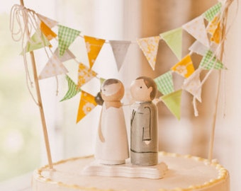 Mustard Yellow Green and Grey Wedding Cake Topper Decoration / Romantic Vintage and Handmade Wedding