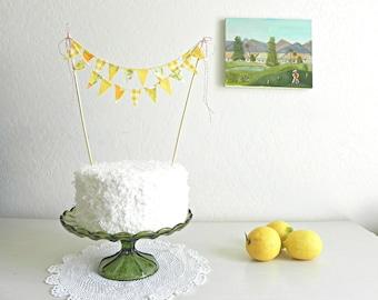 Vintage Lemonade Party Fabric Bunting Cake Topper Decoration / Handmade Garden Wedding