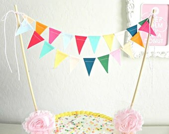 Candy Colored  Fabric Bunting Cake Topper Decoration / Vintage Circus Style