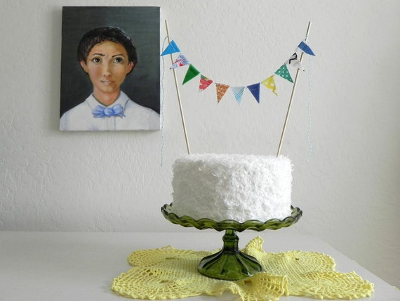Blue Loden Fabric Cake Bunting Decoration - As Seen On HGTV Blog