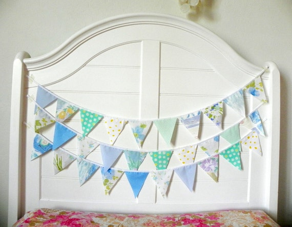 RESERVED FOR SIAN Little Baby Boy Blue Aqua Vintage Fabric Bunting, Garland, Banner, Pennant  Decoration 9 Feet