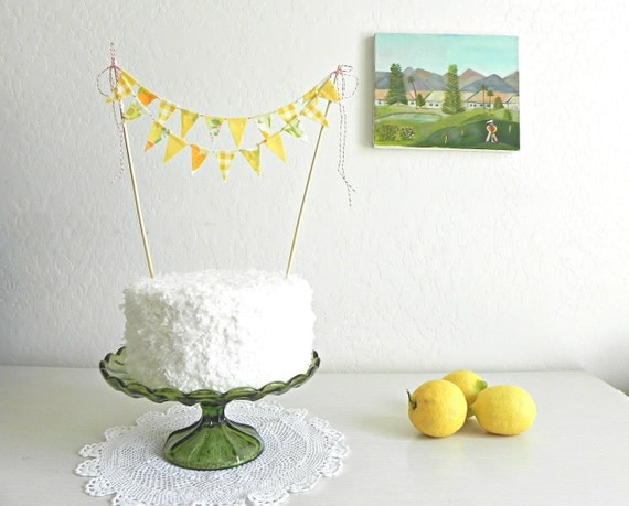 Vintage Lemonade Party Fabric Bunting Cake Topper Decoration / Handmade Garden Wedding