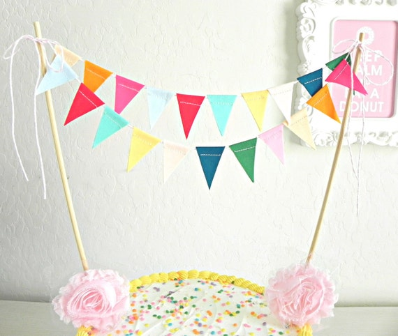 Bunting Decoration For Cake : Candy Colored Fabric Bunting Cake Topper by AFeteBeckons ...