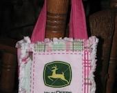 Pink Valentine John Deere Rag Tote Kiddie Purse Goodie Bag