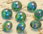 N1032 Vintage Glass Buttons Self Shank Antique iridescent OLD