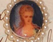 N1164c Vintage Pendant Antiqued Portrait Girl Victorian Photo Cameo Hat Rhinestone