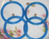 N1471  Vintage Hoops Beads Rings Shabby Blue Jewel Pastel Ring round Connecters hoop
