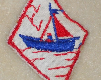 Vintage Sail Boat Applique Embroidery Nautical Ocean Beach Sewing Sailboat Patch. #842E