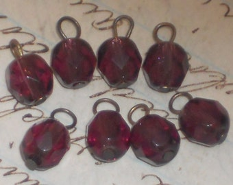 N1156 Vintage Glass Connector Drops Beads Charms Amethyst Dangles Loops Connectors Findings
