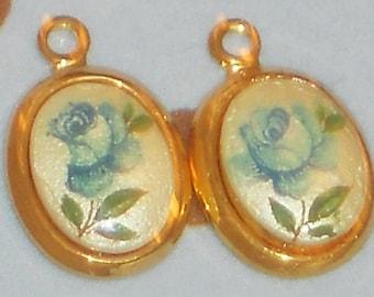 N562X Vintage Charms Limoges Dangles Drops Connectors Findings Rose Blue Flower