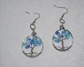 Blue Tree of Life Earrings - handcrafted jewelery