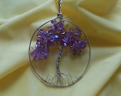 Purple Luster Tree of Life 925 STERLING SILVER
