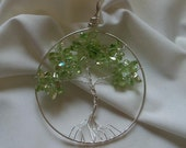 Lime Green Glass Chips Tree of Life