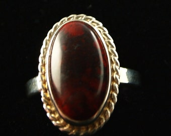 Sterling Silver and Red Jasper Ring Size 7 1/4