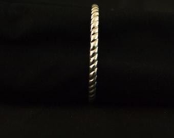 Sterling Silver Hand Carved Bangle Bracelet