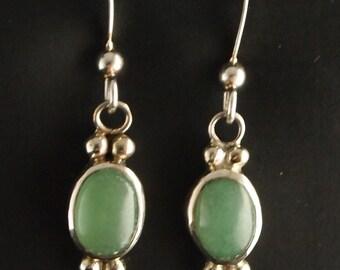 Sterling Silver and Green Aventurin  Dangle Earrings