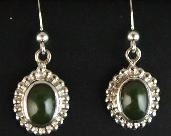 Sterling Silver and Green Jade Drop Earrings