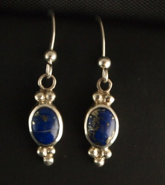 Sterling Silver and Lapis Dangle Earrings