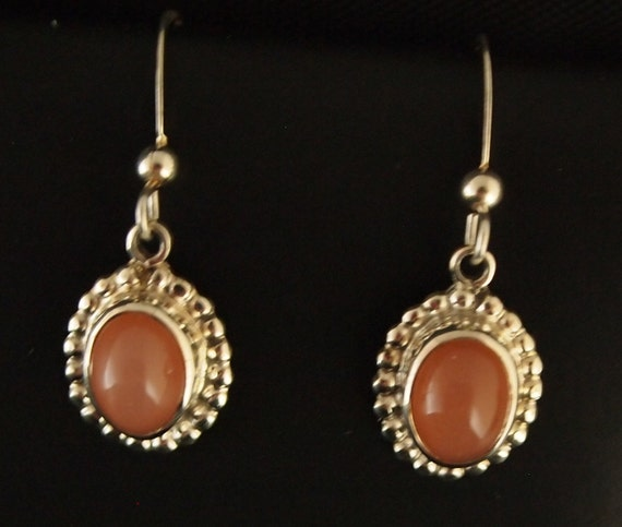 Sterling Silver and Peach Moonstone Drop Earrings
