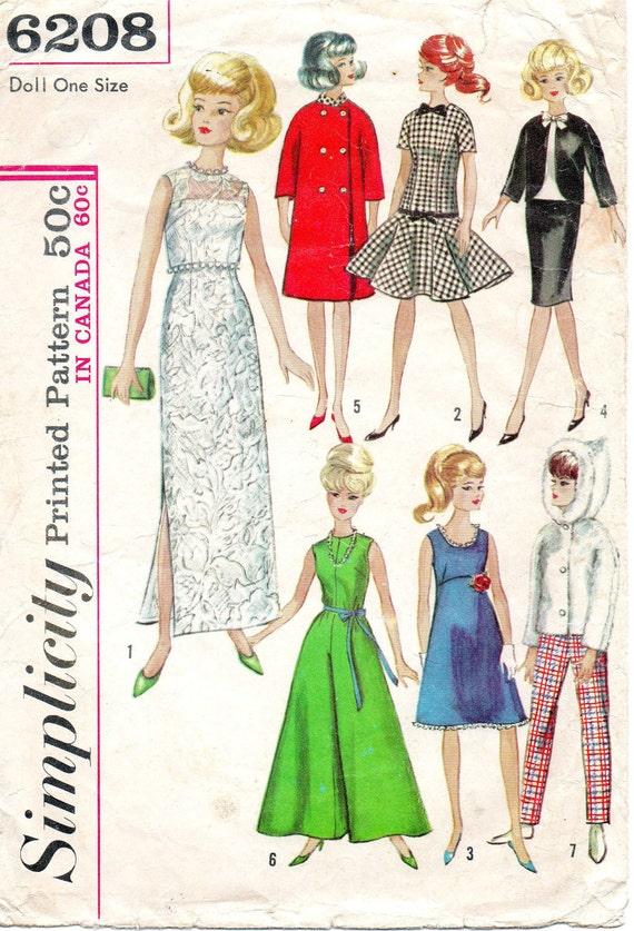 Vintage Mad Men Era Barbie Doll Clothes Pattern 1965