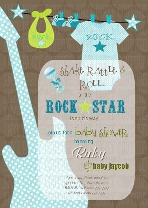 items similar to new rock star baby shower invitation baby boy baby shower rockstar party. Black Bedroom Furniture Sets. Home Design Ideas